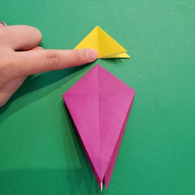 椿の折り紙(立体)の作り方・折り方 (34)