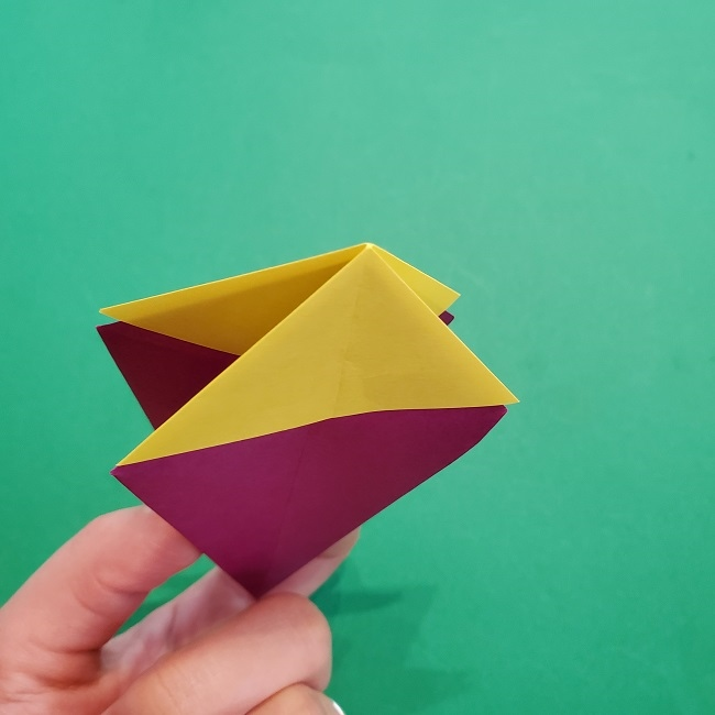 椿の折り紙(立体)の作り方・折り方 (35)