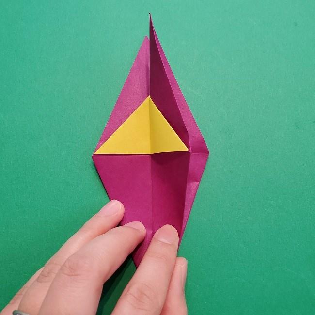 椿の折り紙(立体)の作り方・折り方 (40)