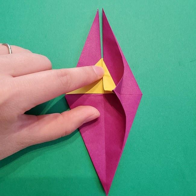 椿の折り紙(立体)の作り方・折り方 (42)