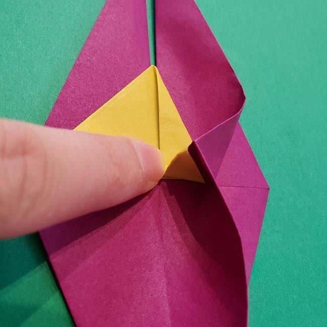 椿の折り紙(立体)の作り方・折り方 (43)