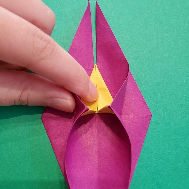 椿の折り紙(立体)の作り方・折り方 (44)