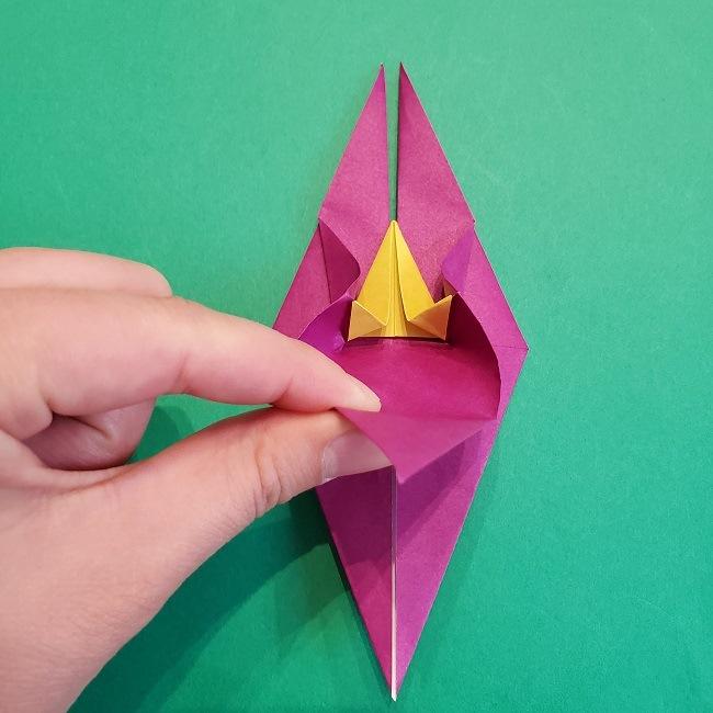 椿の折り紙(立体)の作り方・折り方 (45)