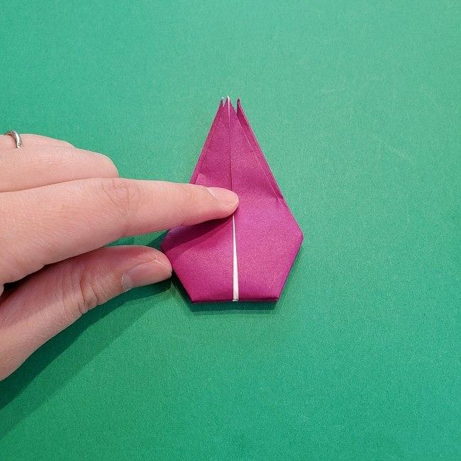 椿の折り紙(立体)の作り方・折り方 (48)