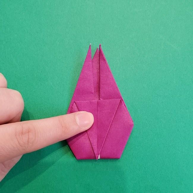 椿の折り紙(立体)の作り方・折り方 (49)
