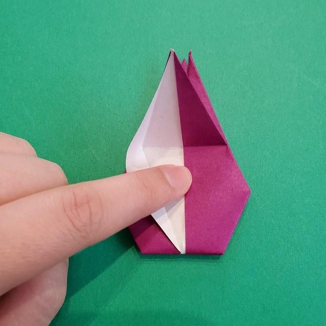椿の折り紙(立体)の作り方・折り方 (50)