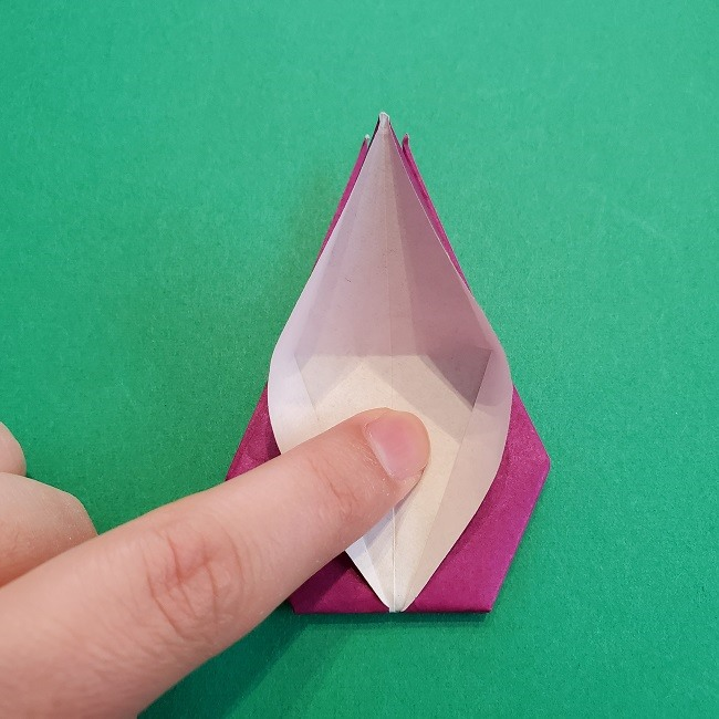 椿の折り紙(立体)の作り方・折り方 (51)