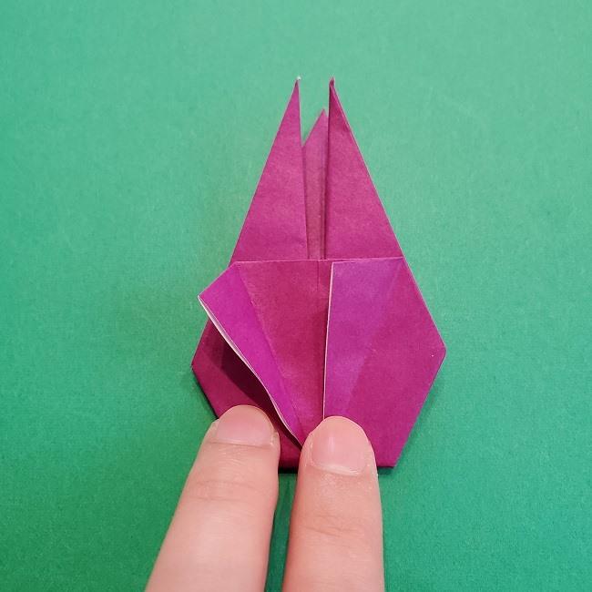 椿の折り紙(立体)の作り方・折り方 (53)