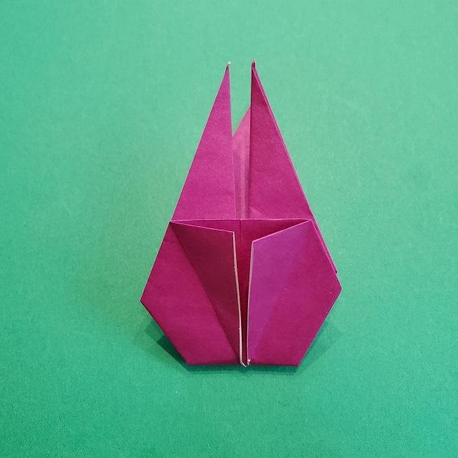 椿の折り紙(立体)の作り方・折り方 (54)
