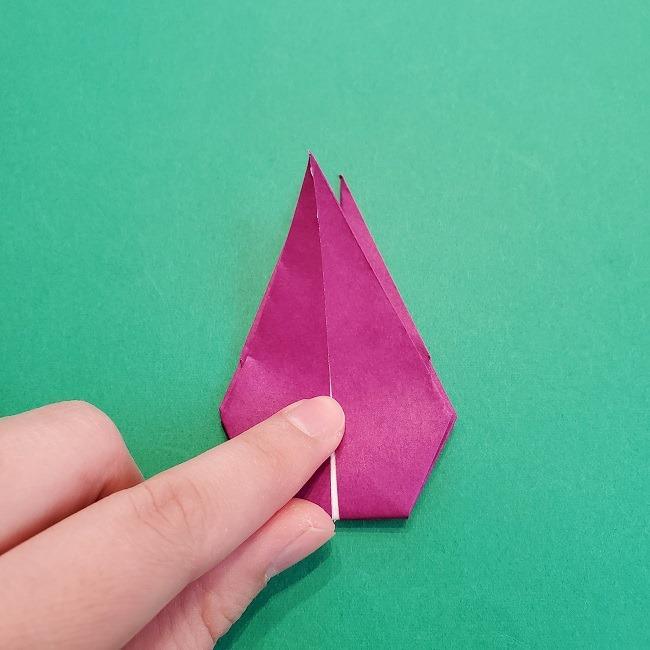 椿の折り紙(立体)の作り方・折り方 (55)