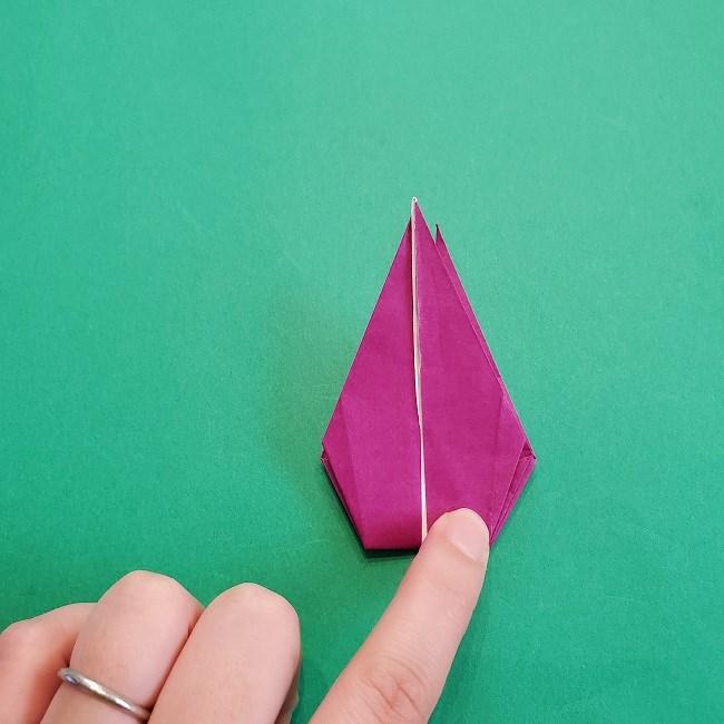 椿の折り紙(立体)の作り方・折り方 (57)