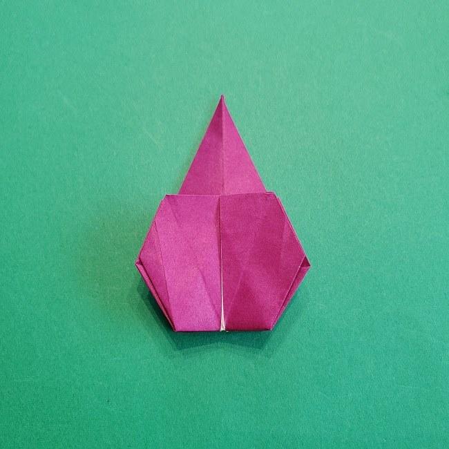 椿の折り紙(立体)の作り方・折り方 (59)
