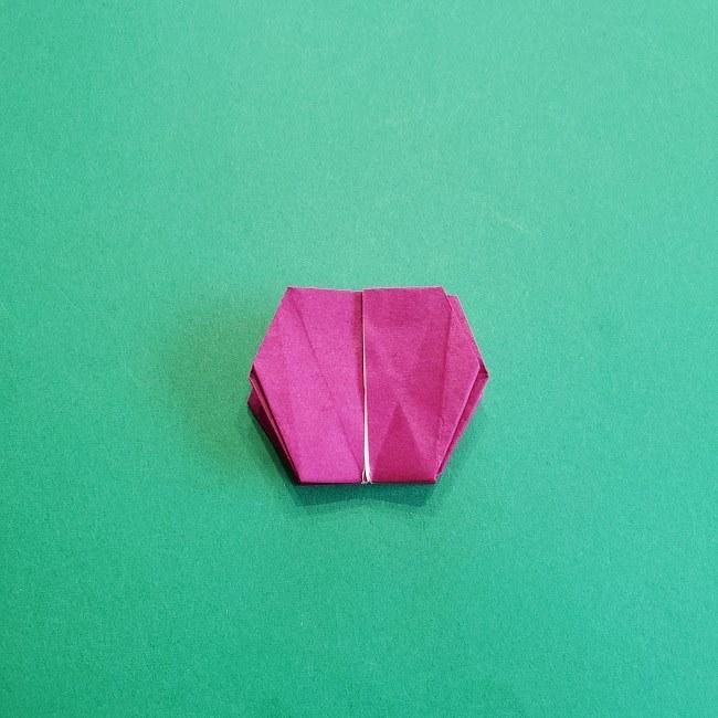 椿の折り紙(立体)の作り方・折り方 (60)
