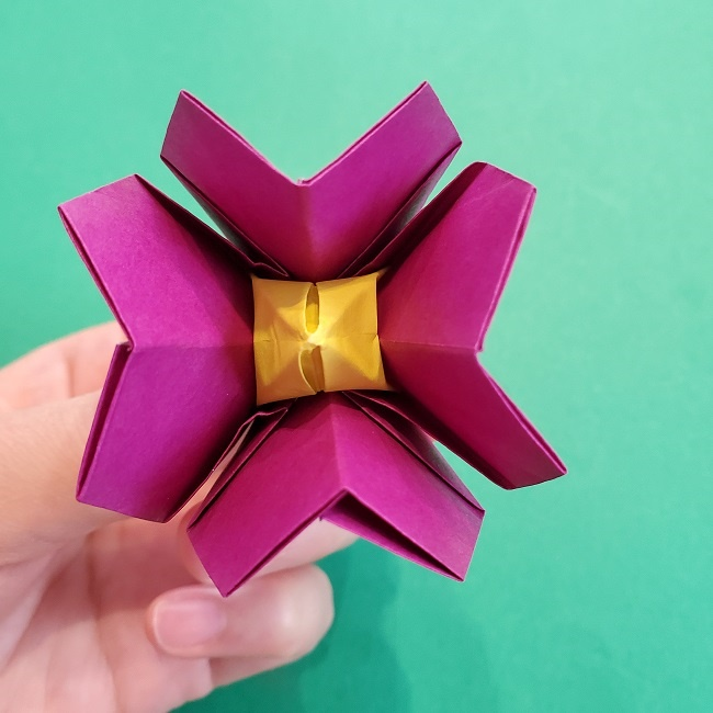 椿の折り紙(立体)の作り方・折り方 (65)