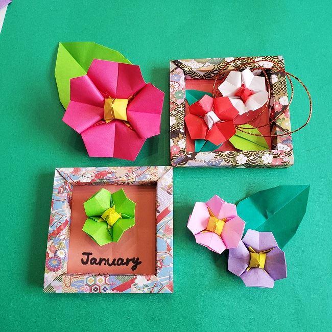 正月飾り~2月の折り紙【椿のフレーム】の作り方