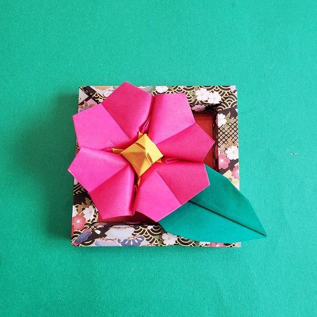 正月2月壁飾り★折り紙の椿フレーム (2)