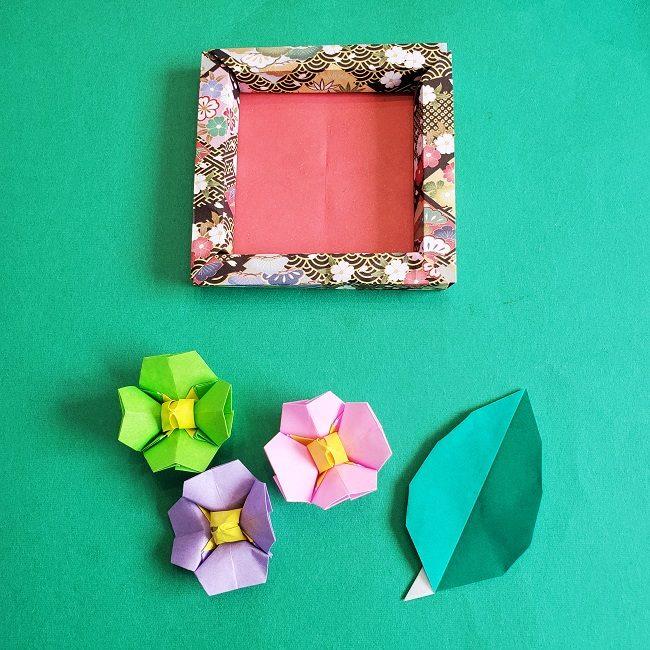 正月2月壁飾り★折り紙の椿フレーム (3)