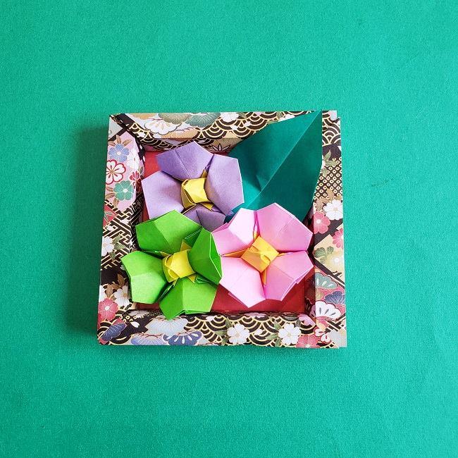 正月2月壁飾り★折り紙の椿フレーム (4)