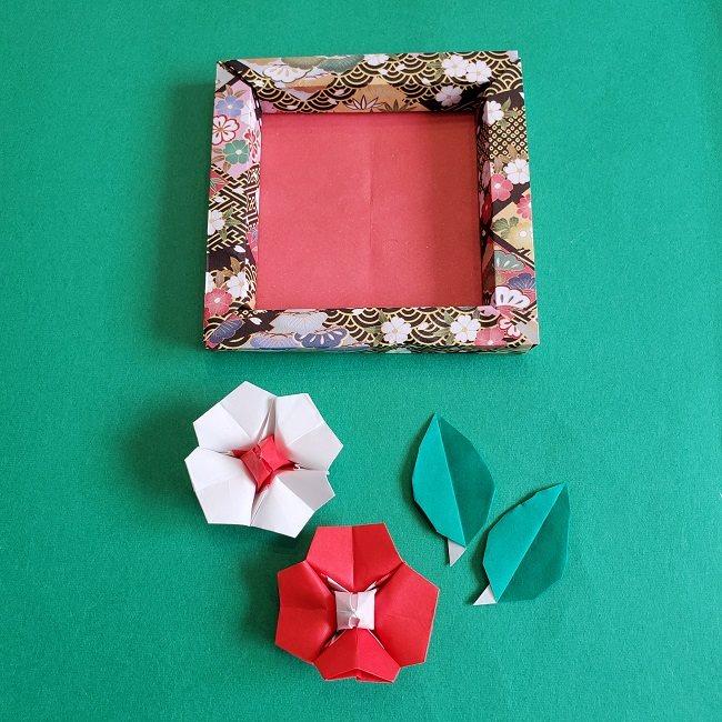 正月2月壁飾り★折り紙の椿フレーム (5)