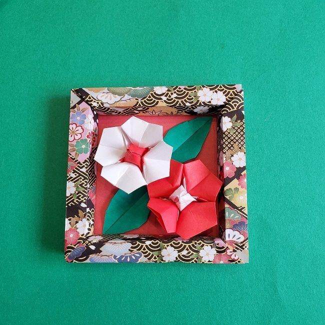 正月2月壁飾り★折り紙の椿フレーム (6)