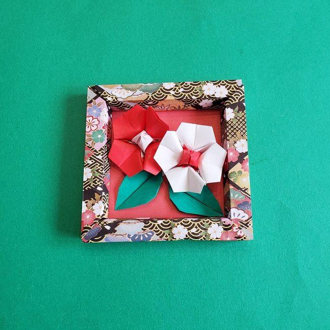 正月2月壁飾り★折り紙の椿フレーム (7)