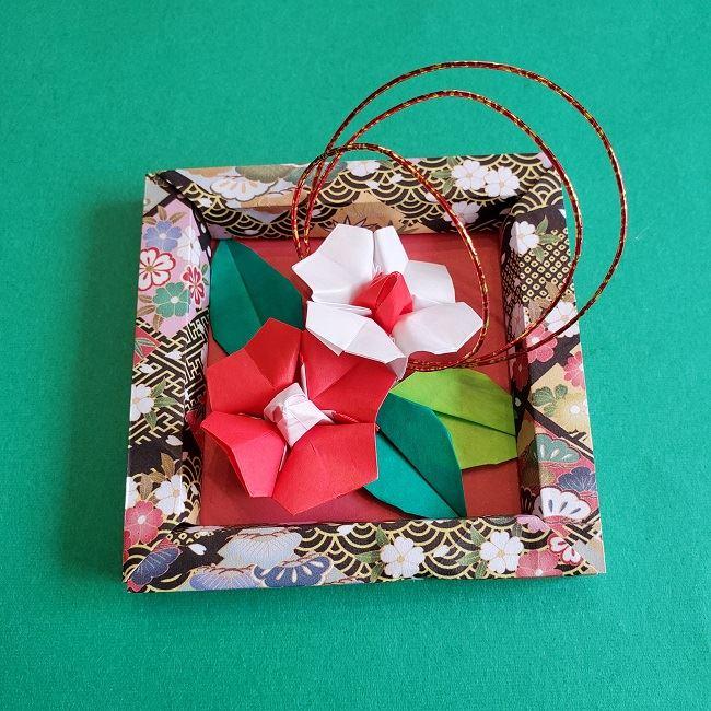 正月2月壁飾り★折り紙の椿フレーム (8)
