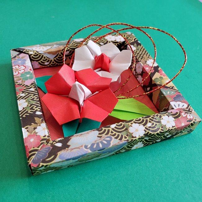 正月2月壁飾り★折り紙の椿フレーム (9)