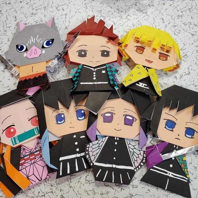 無一郎の折り紙は簡単⁈たった3色でかわいいキャラクターに大変身☆