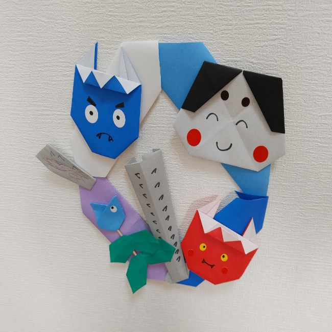 節分の壁面飾り(リース)の折り方★高齢者にもオススメの作り方
