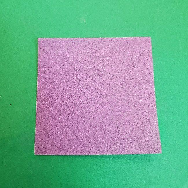 胡蝶しのぶの髪飾りの作り方(折り紙は紫色) (1)