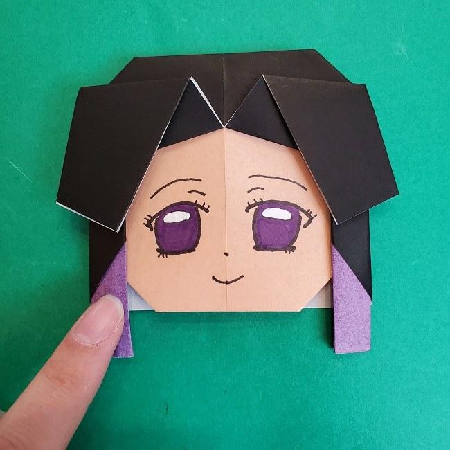 胡蝶しのぶの髪飾りの作り方(折り紙は紫色) (9)