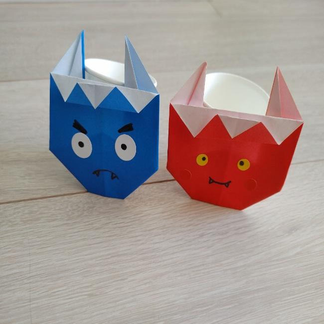 鬼を折り紙で3歳児&年長の子供と作った感想