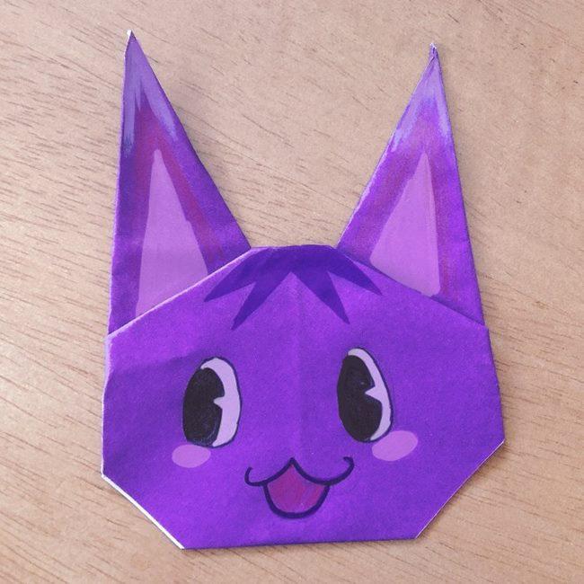 あつ森キャラの折り紙「ブーケ」の折り方作り方★簡単かわいい猫