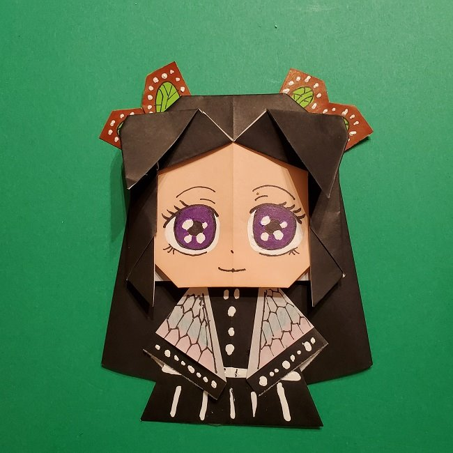 きめつのやいばの折り紙 胡蝶カナエの折り方作り方★意外と簡単!かわいい鬼滅の刃キャラクター