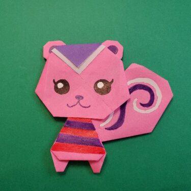 どうぶつの森の折り方「ももこ」折り紙でかわいいピンクのリスを手作り♪