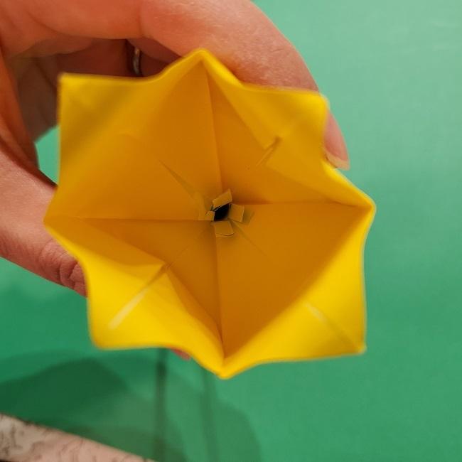 チューリップの折り紙 4歳児とつくった茎・葉(立体)の作り方 (19)