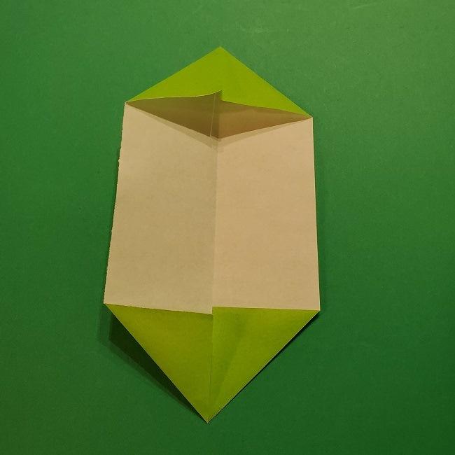 チューリップの折り紙 4歳児とつくった茎・葉(立体)の作り方 (25)