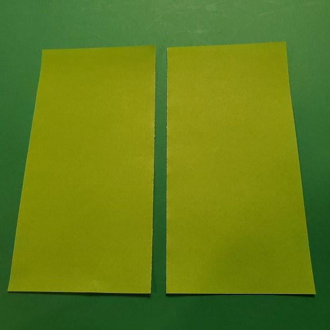 チューリップの折り紙 4歳児とつくった茎・葉(立体)の作り方 (3)