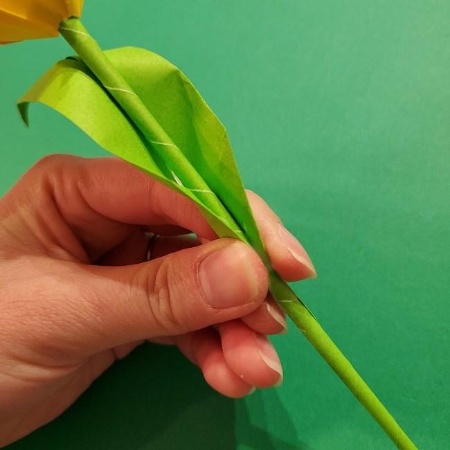 チューリップの折り紙 4歳児とつくった茎・葉(立体)の作り方 (34)