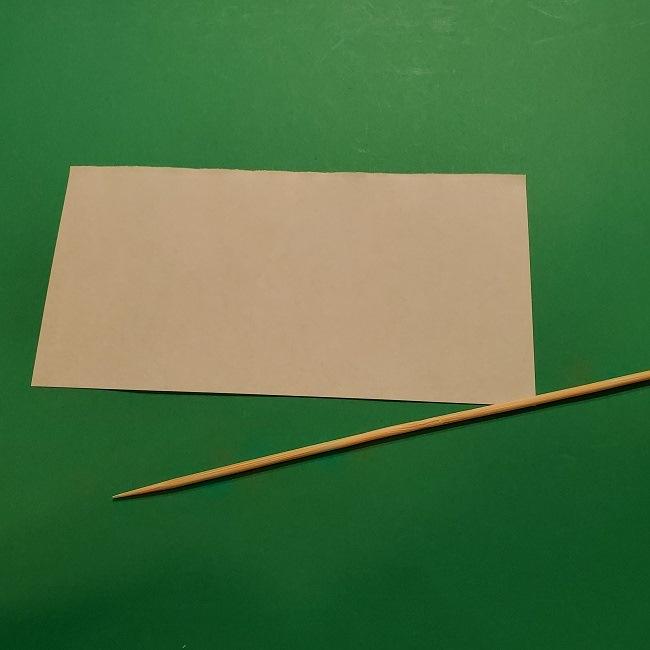 チューリップの折り紙 4歳児とつくった茎・葉(立体)の作り方 (4)