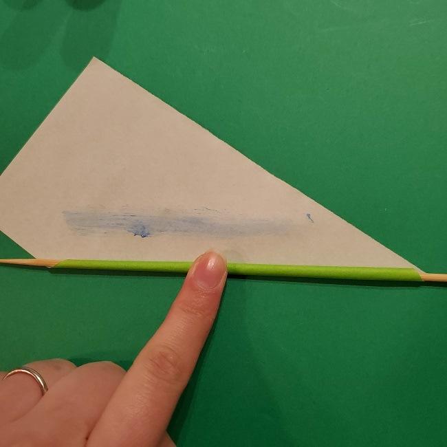 チューリップの折り紙 4歳児とつくった茎・葉(立体)の作り方 (7)