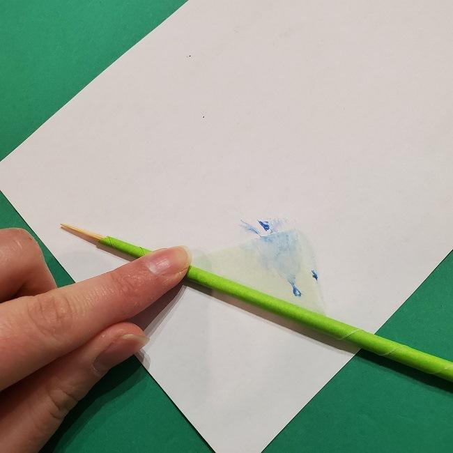 チューリップの折り紙 4歳児とつくった茎・葉(立体)の作り方 (8)