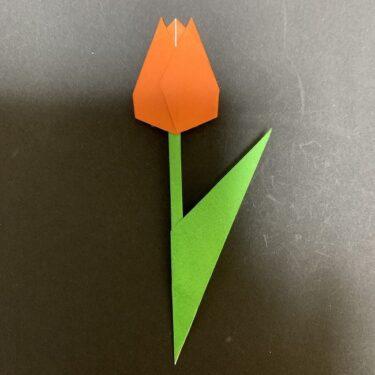チューリップの茎の折り方★折り紙で草・葉っぱをつくろう♪ (2)