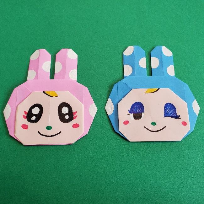 動物の森の折り紙『クリスチーヌとフランソワ』の折り方作り方★かわいいウサギの姉妹
