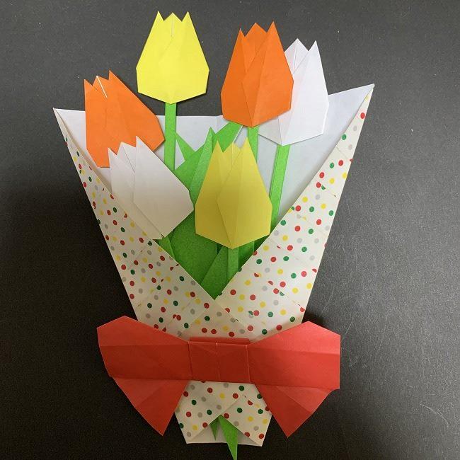 折り紙【チューリップの花束(平面)】の作り方折り方★簡単かわいい春のデコレーション