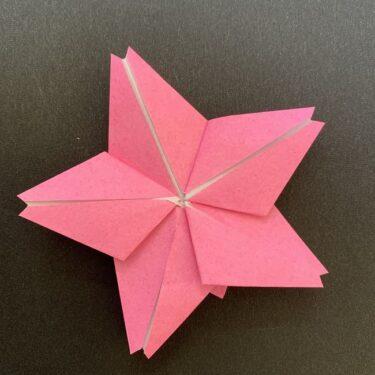 折り紙【五角形の桜】の折り方★一枚で平面の花をつくれる作り方♪