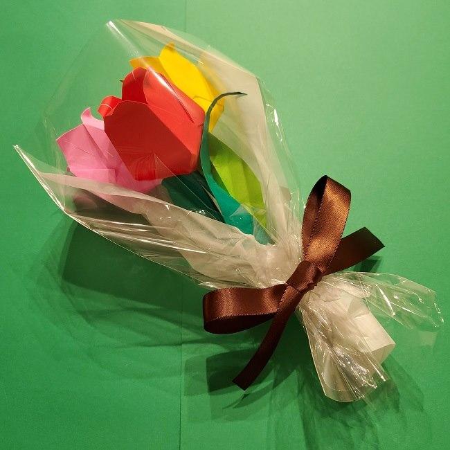 折り紙の花束(子供にも!)立体的なチューリップブーケの作り方 (13)