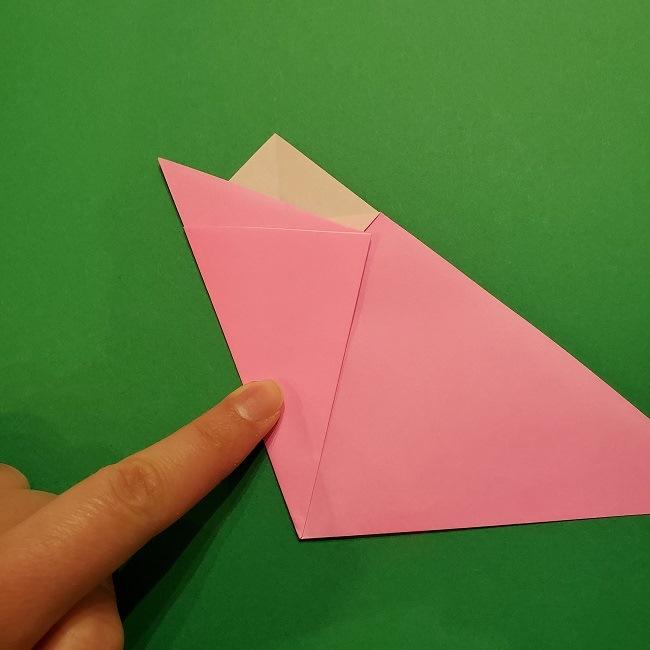 折り紙の桜(立体・1枚)の作り方折り方 (10)