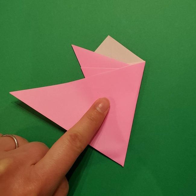 折り紙の桜(立体・1枚)の作り方折り方 (11)
