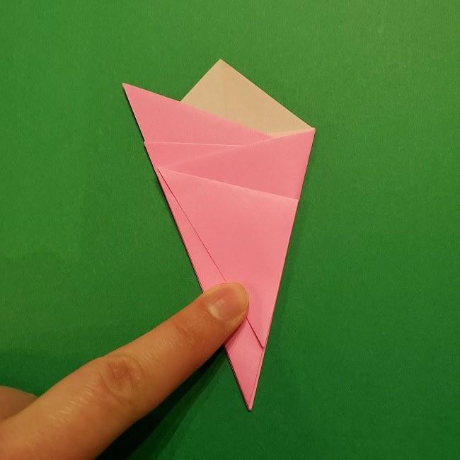 折り紙の桜(立体・1枚)の作り方折り方 (13)